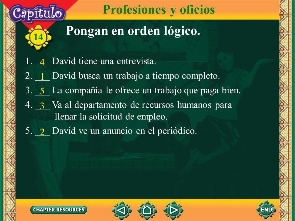 Profesiones y oficios Pongan en orden lógico.