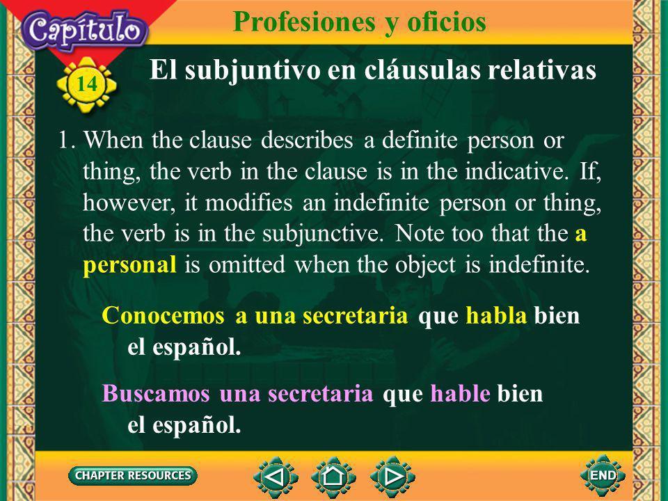 El subjuntivo en cláusulas relativas
