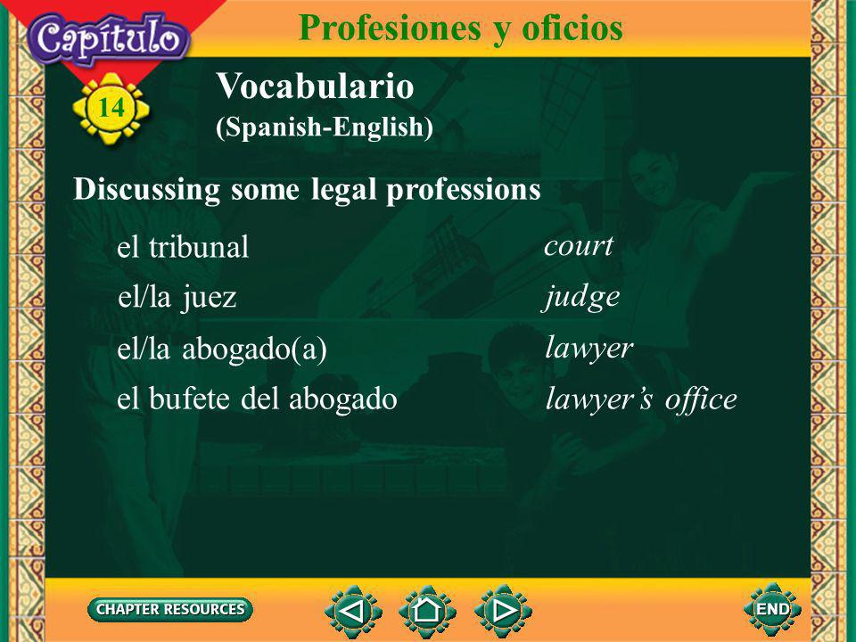 Profesiones y oficios Vocabulario Discussing some legal professions