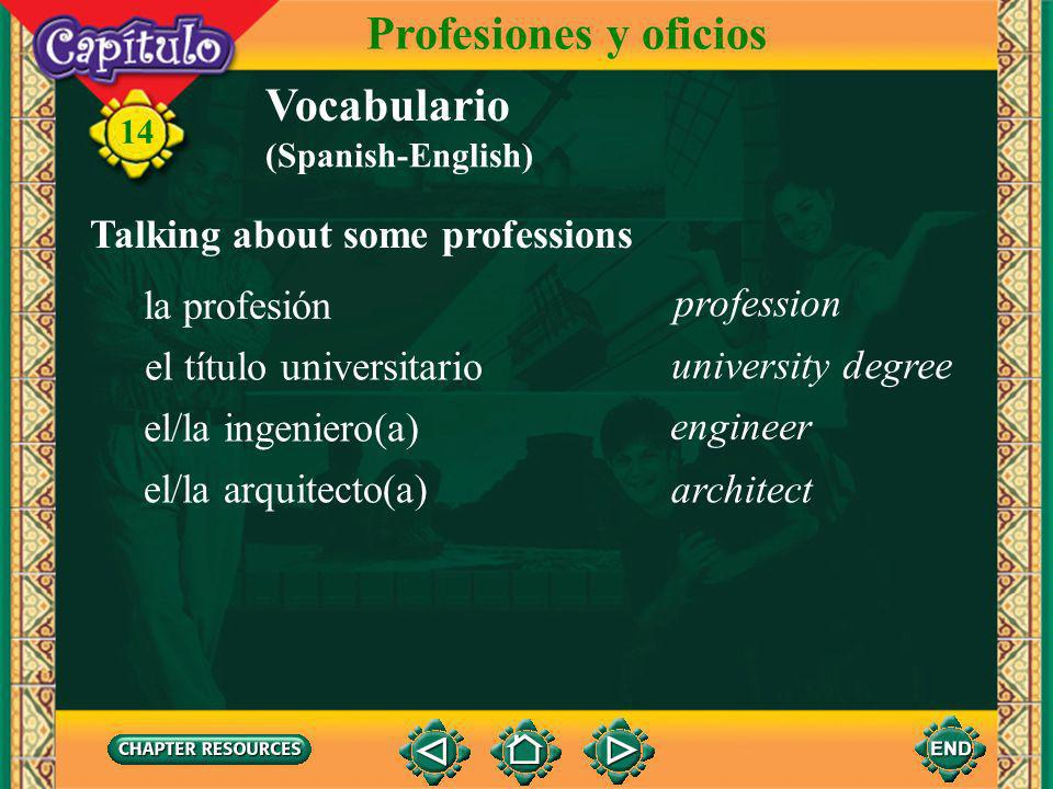 Profesiones y oficios Vocabulario Talking about some professions
