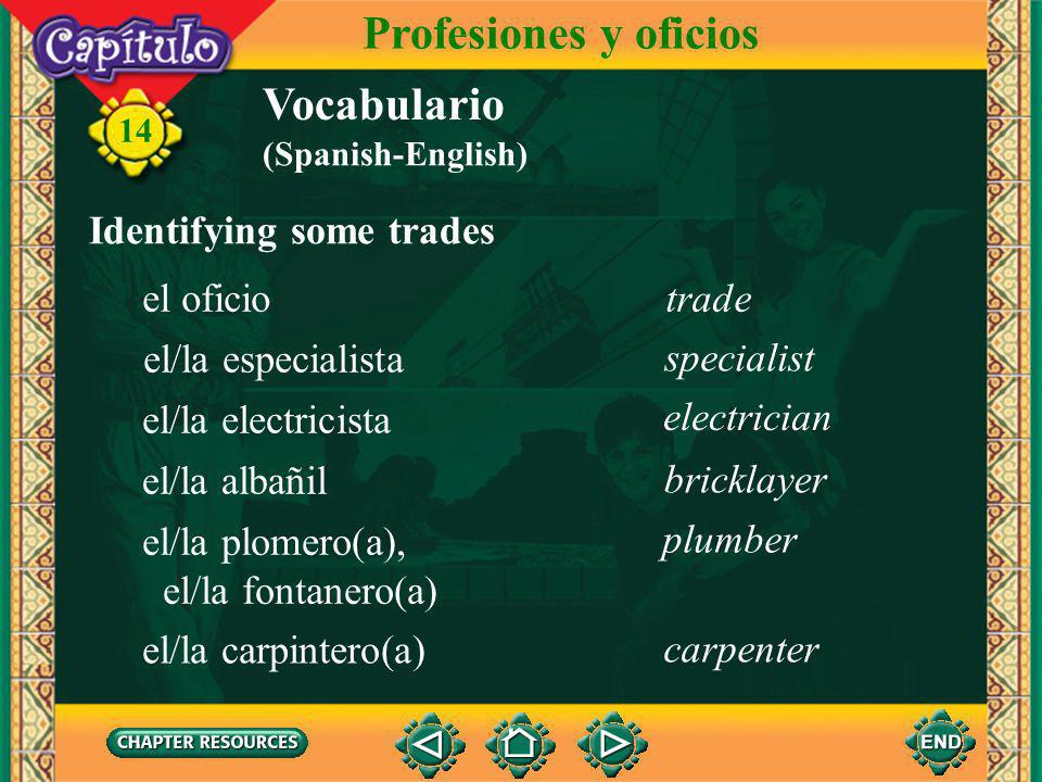 Profesiones y oficios Vocabulario Identifying some trades el oficio