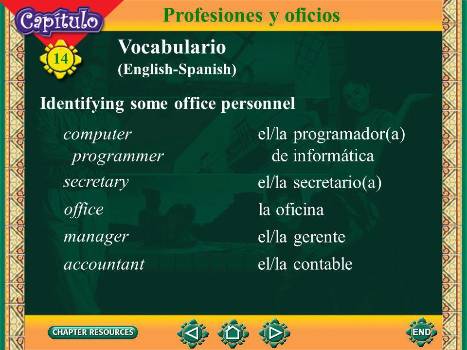 Profesiones y oficios Vocabulario Identifying some office personnel