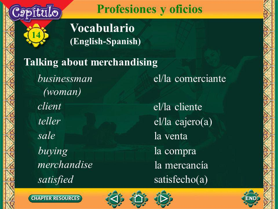 Profesiones y oficios Vocabulario Talking about merchandising