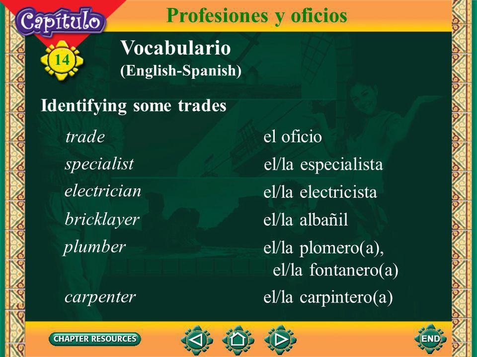 Profesiones y oficios Vocabulario Identifying some trades trade