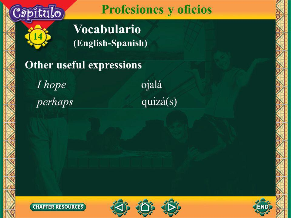 Profesiones y oficios Vocabulario Other useful expressions I hope