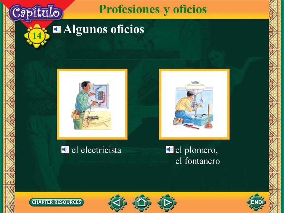 Profesiones y oficios Algunos oficios el electricista el plomero,