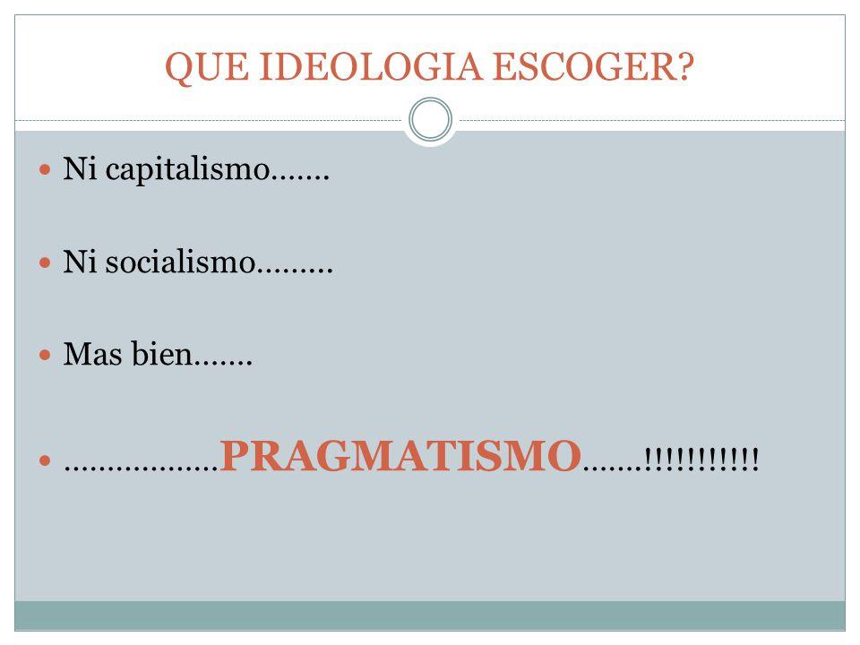 QUE IDEOLOGIA ESCOGER Ni capitalismo……. Ni socialismo……...