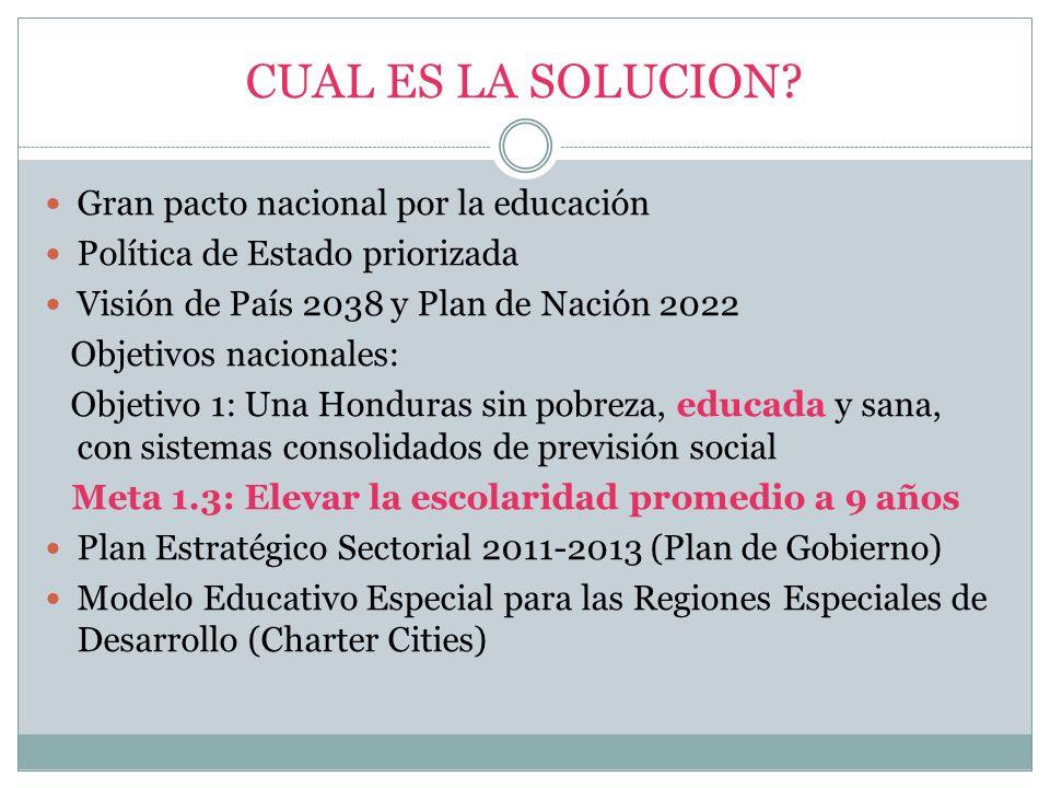 CUAL ES LA SOLUCION Gran pacto nacional por la educación