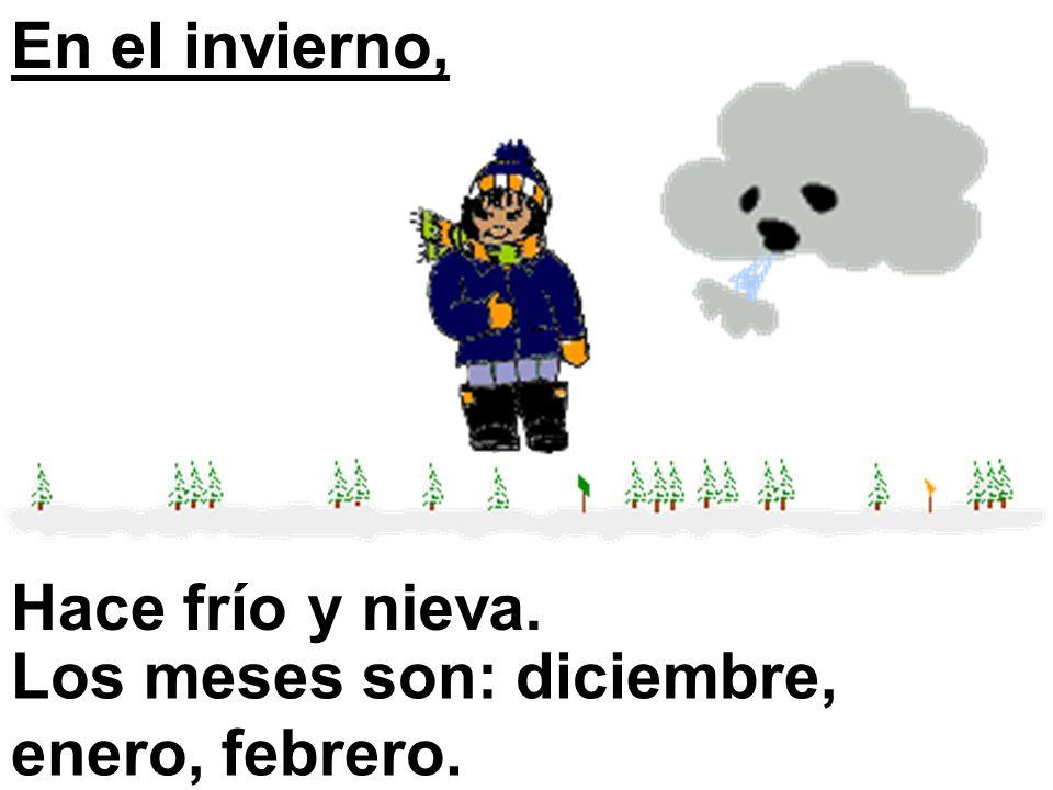 En el invierno, Hace frío y nieva. Los meses son: diciembre, enero, febrero.