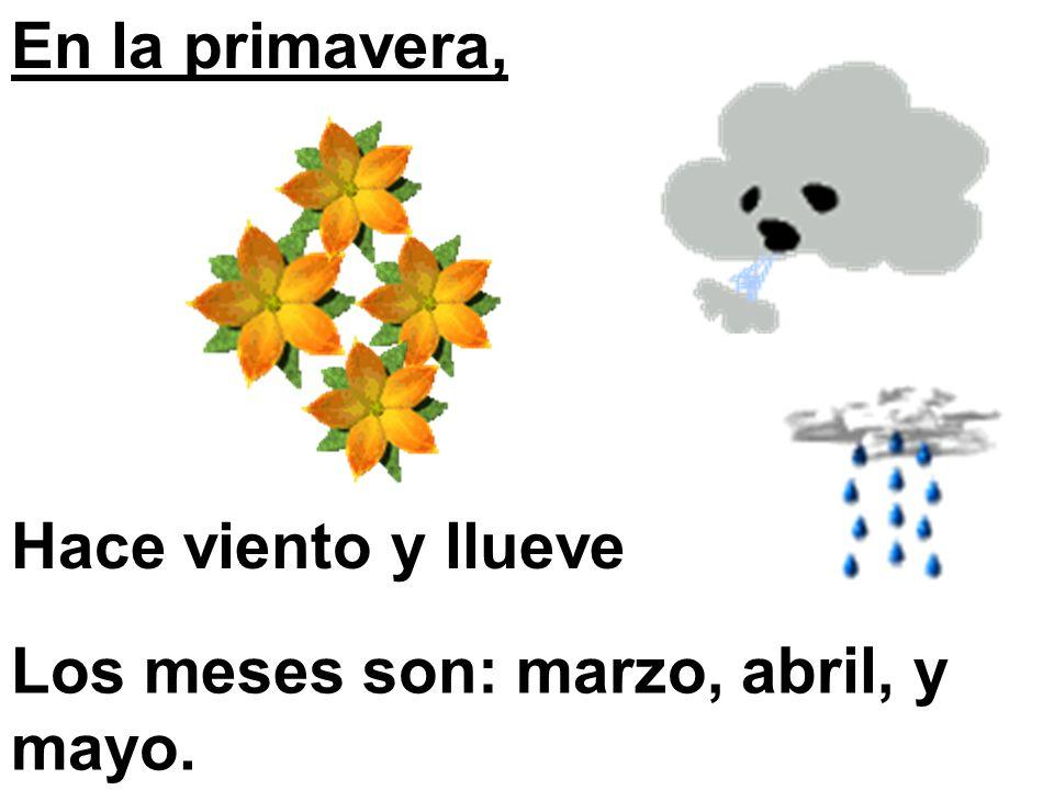 En la primavera, Hace viento y llueve Los meses son: marzo, abril, y mayo.