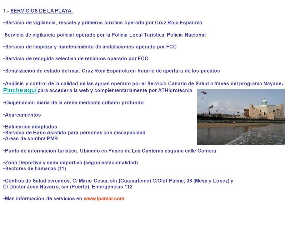 1.- SERVICIOS DE LA PLAYA: