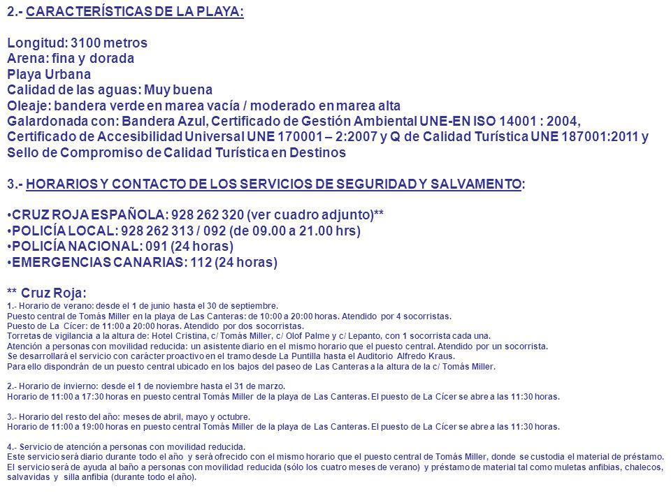 2.- CARACTERÍSTICAS DE LA PLAYA: Longitud: 3100 metros