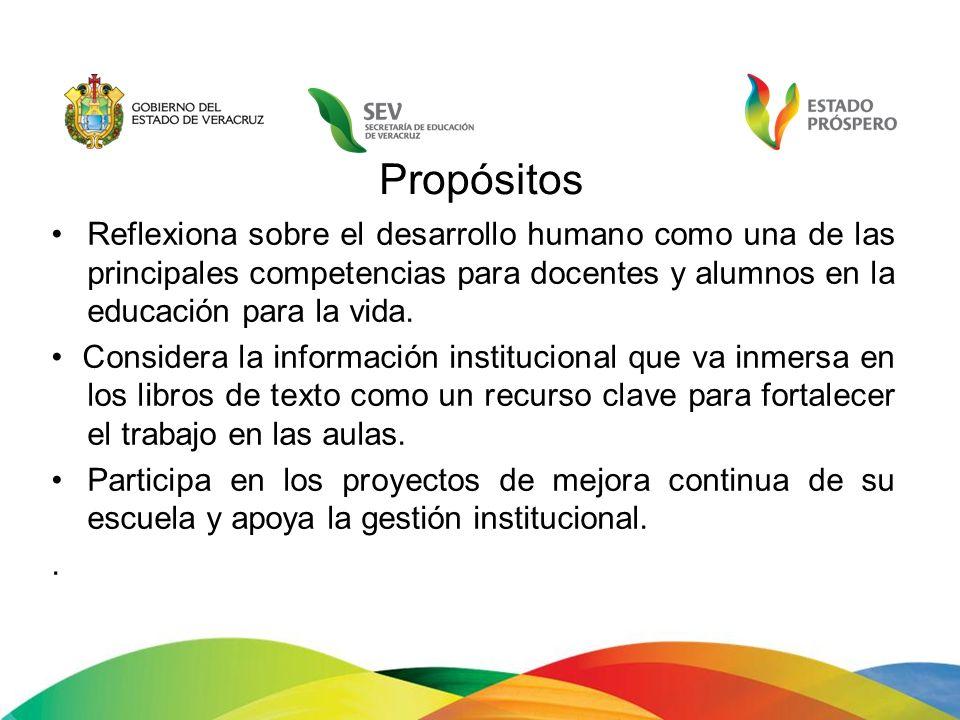 Propósitos Reflexiona sobre el desarrollo humano como una de las principales competencias para docentes y alumnos en la educación para la vida.