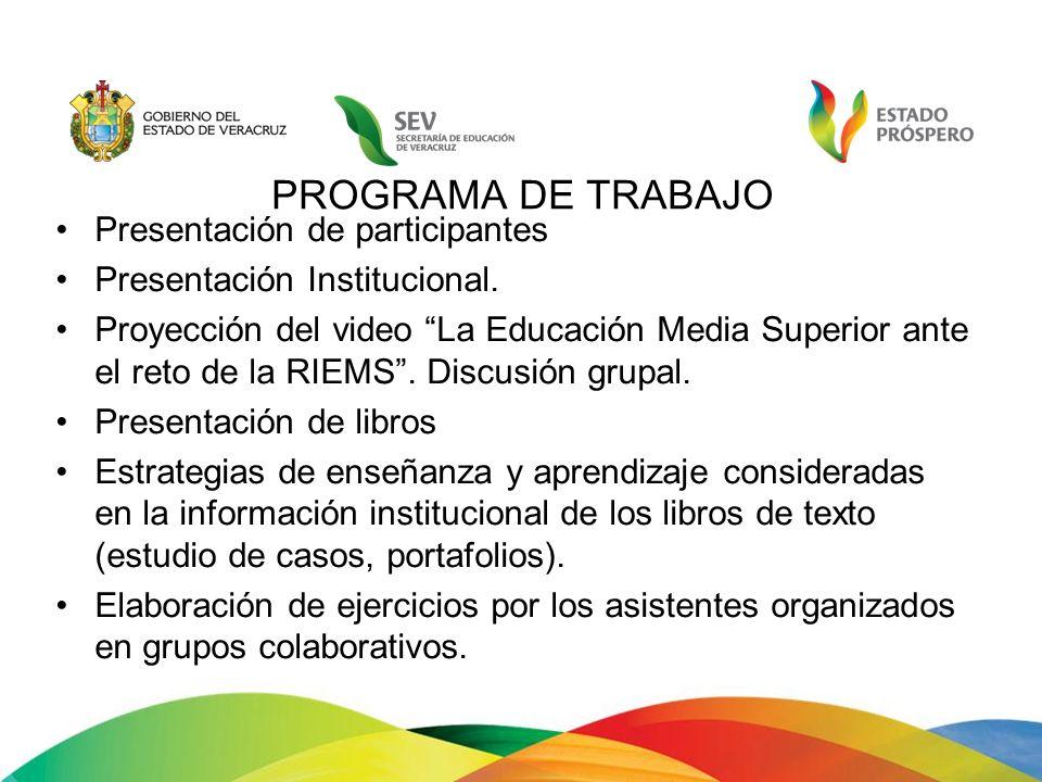PROGRAMA DE TRABAJO Presentación de participantes