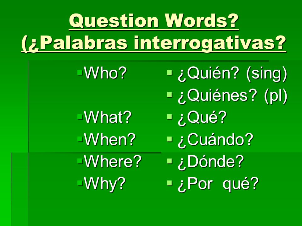 Question Words (¿Palabras interrogativas