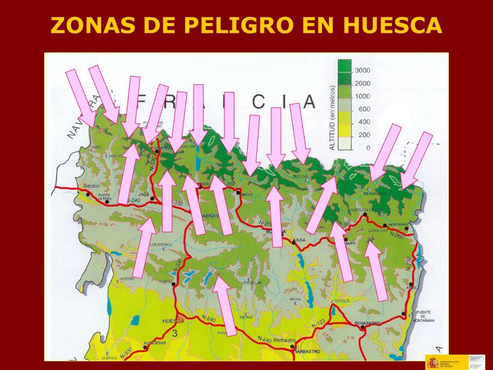 ZONAS DE PELIGRO EN HUESCA