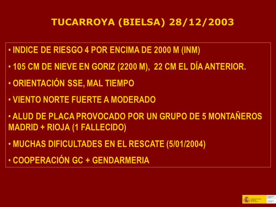 TUCARROYA (BIELSA) 28/12/2003 INDICE DE RIESGO 4 POR ENCIMA DE 2000 M (INM) 105 CM DE NIEVE EN GORIZ (2200 M), 22 CM EL DÍA ANTERIOR.
