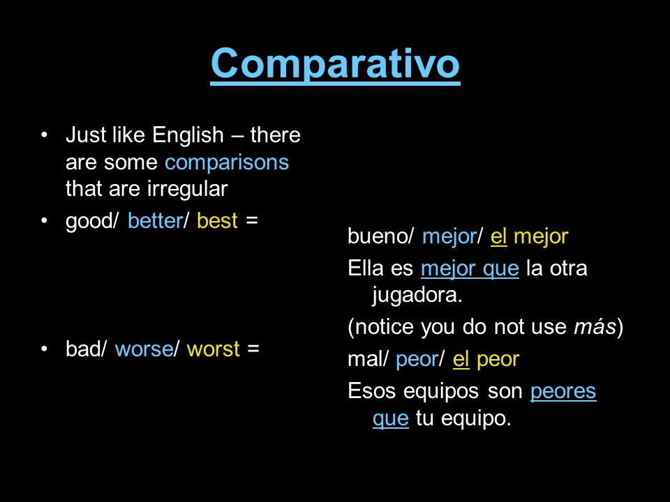 Comparativo Just like English – there are some comparisons that are irregular. good/ better/ best =