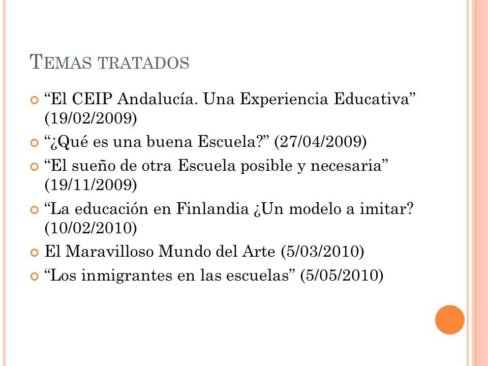 Temas tratados El CEIP Andalucía. Una Experiencia Educativa (19/02/2009) ¿Qué es una buena Escuela (27/04/2009)