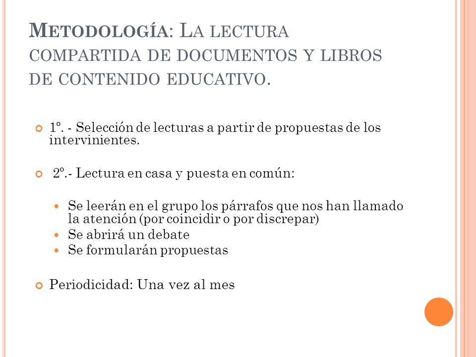 Metodología: La lectura compartida de documentos y libros de contenido educativo.