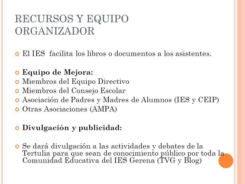 RECURSOS Y EQUIPO ORGANIZADOR