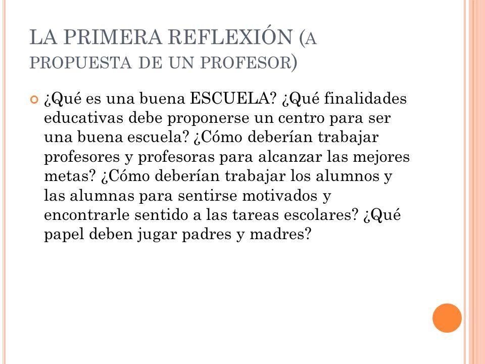 LA PRIMERA REFLEXIÓN (a propuesta de un profesor)