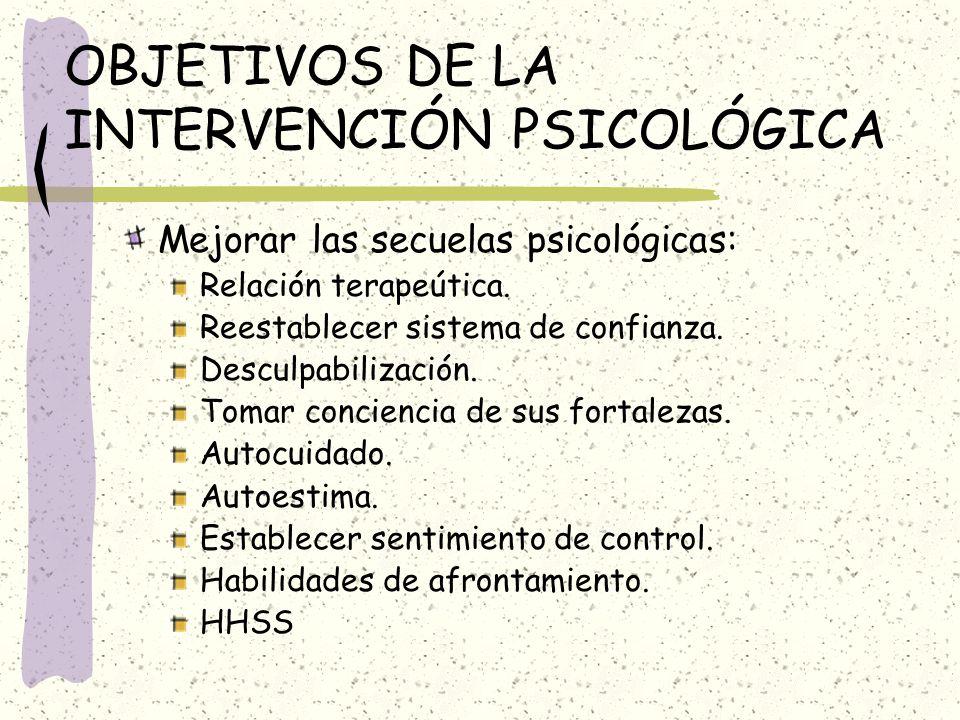 OBJETIVOS DE LA INTERVENCIÓN PSICOLÓGICA