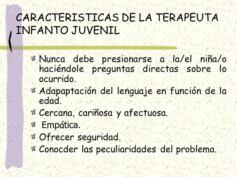 CARACTERISTICAS DE LA TERAPEUTA INFANTO JUVENIL