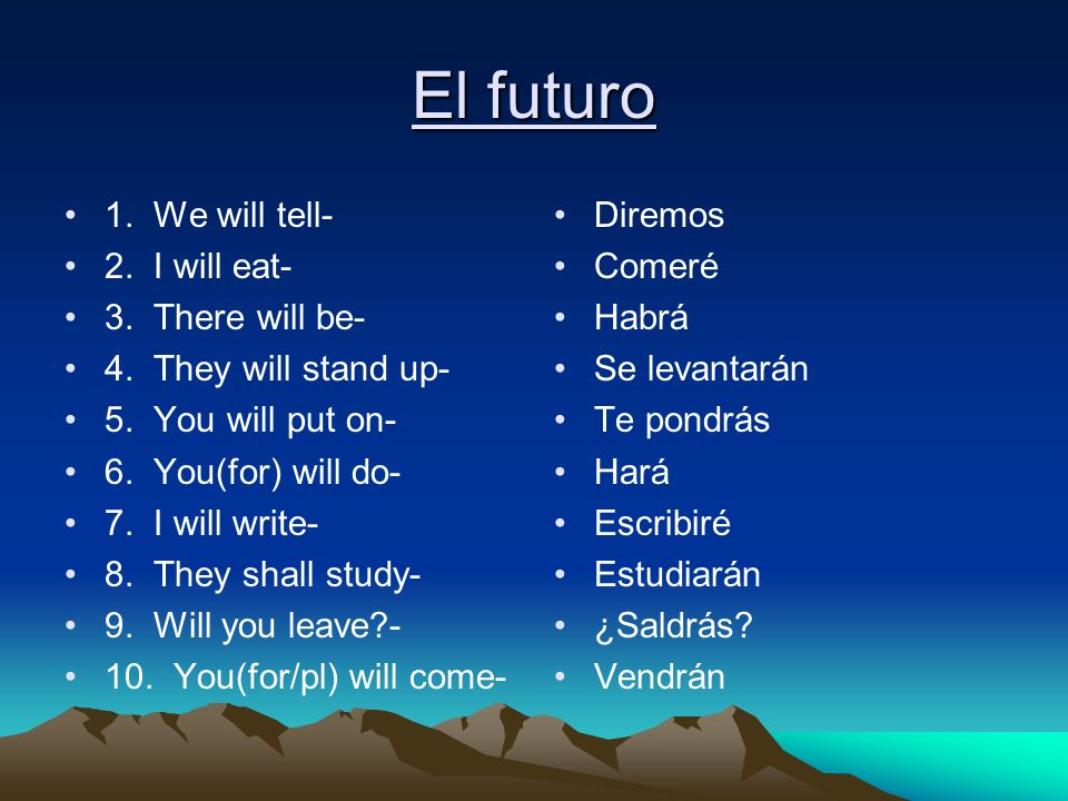 El futuro 1. We will tell- 2. I will eat- 3. There will be-