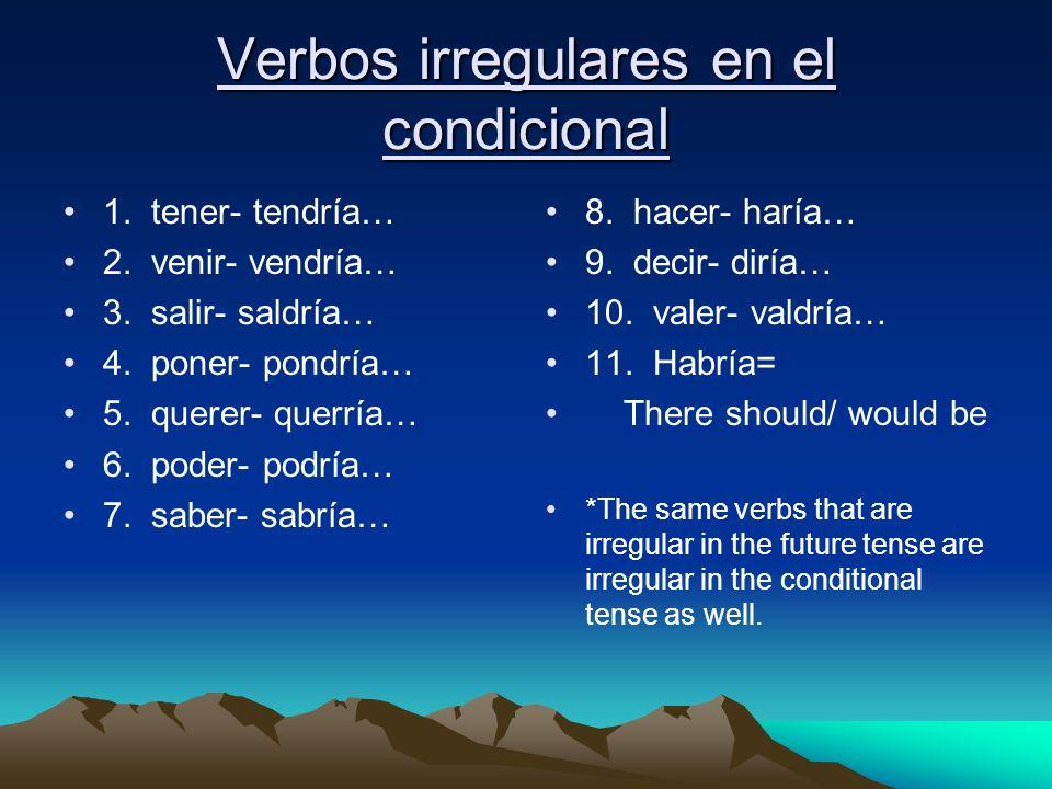 Verbos irregulares en el condicional