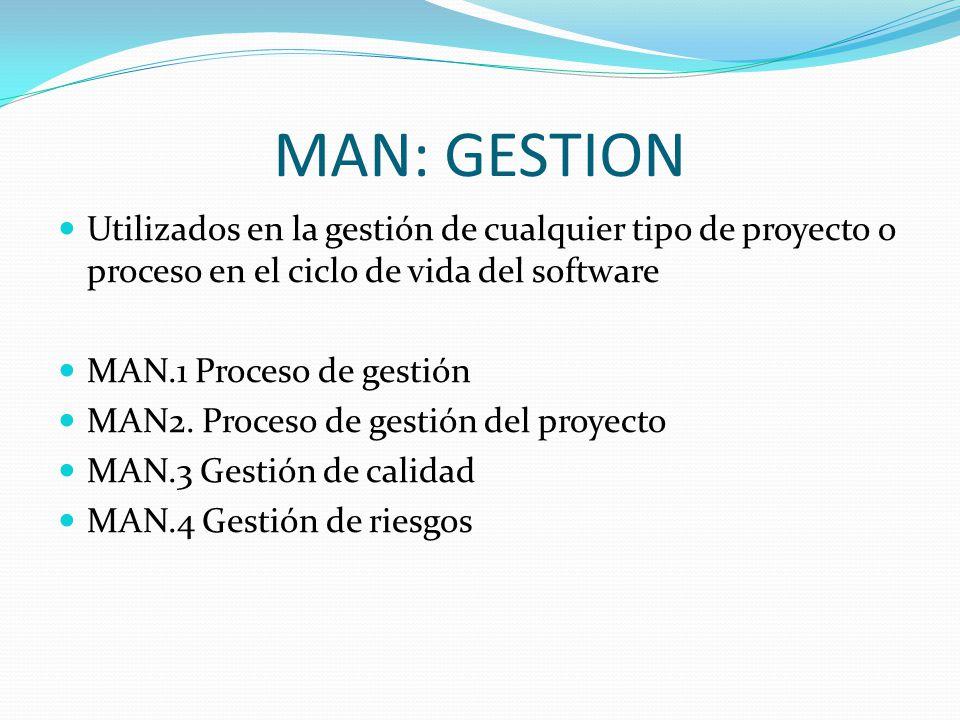 MAN: GESTION Utilizados en la gestión de cualquier tipo de proyecto o proceso en el ciclo de vida del software.