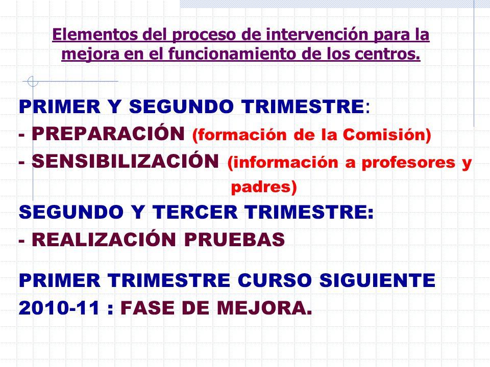 PRIMER Y SEGUNDO TRIMESTRE: - PREPARACIÓN (formación de la Comisión)