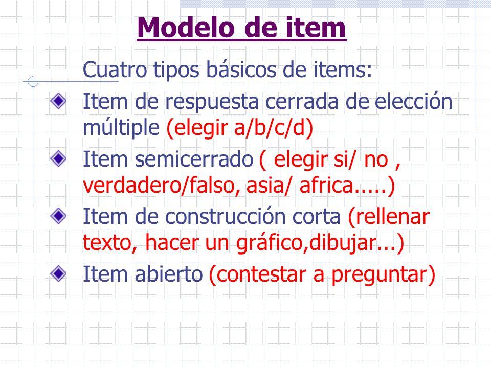 Modelo de item Cuatro tipos básicos de items: