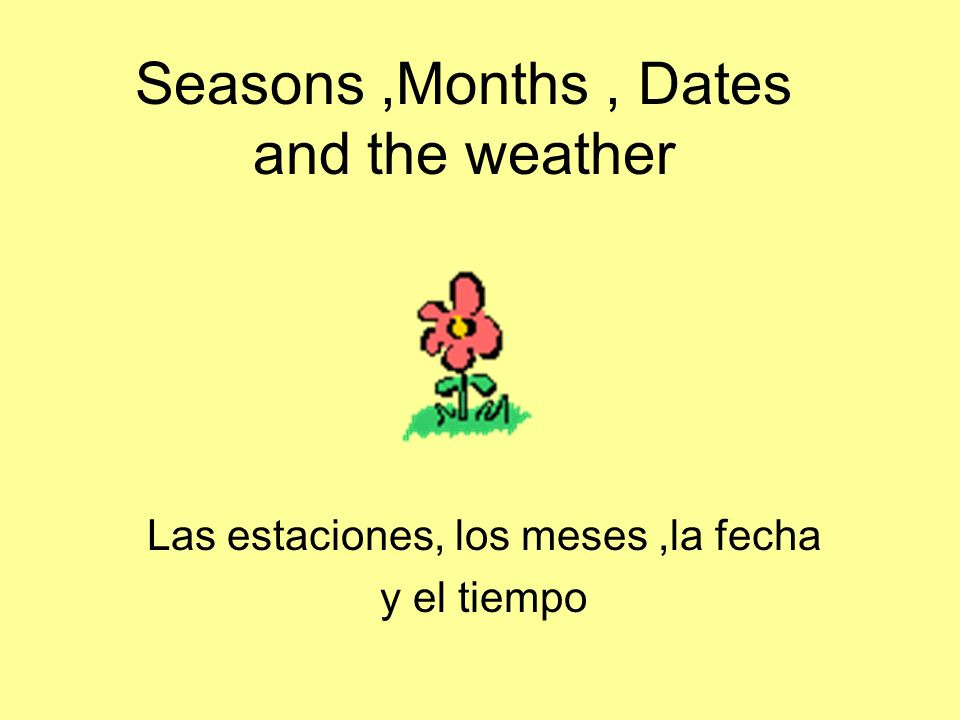 Seasons ,Months , Dates and the weather