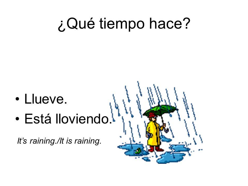 ¿Qué tiempo hace Llueve. Está lloviendo. It's raining./It is raining.