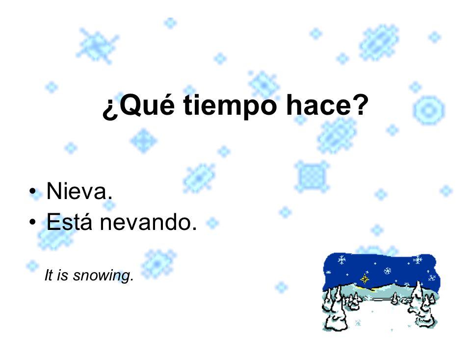 ¿Qué tiempo hace Nieva. Está nevando. It is snowing.
