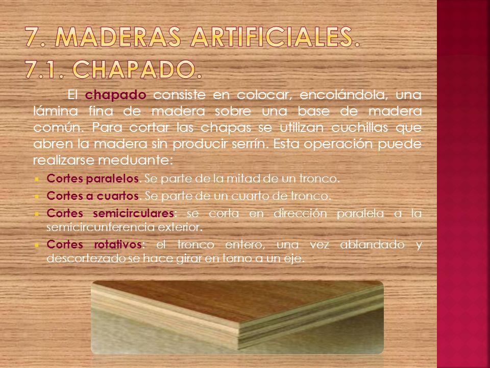 7. Maderas artificiales. 7.1. Chapado.