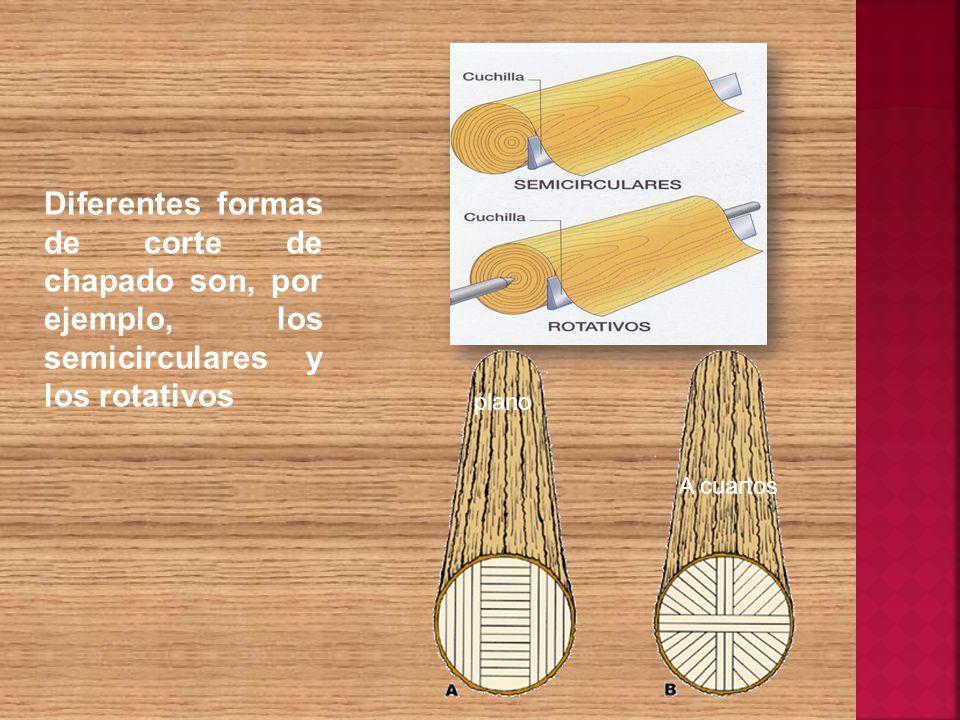 Diferentes formas de corte de chapado son, por ejemplo, los semicirculares y los rotativos