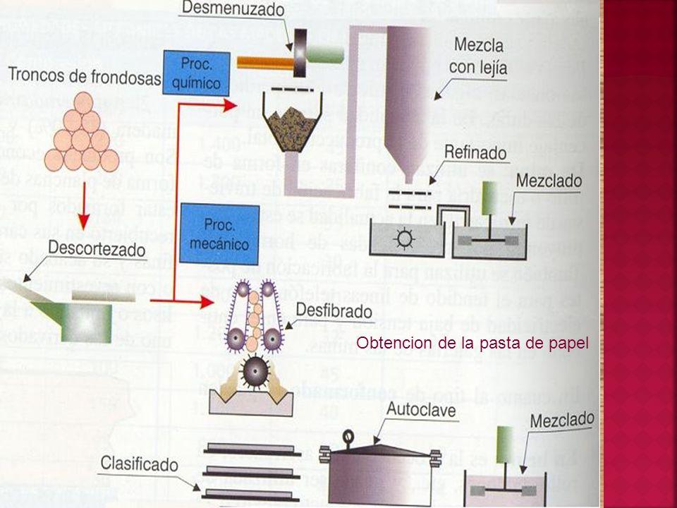 Obtencion de la pasta de papel