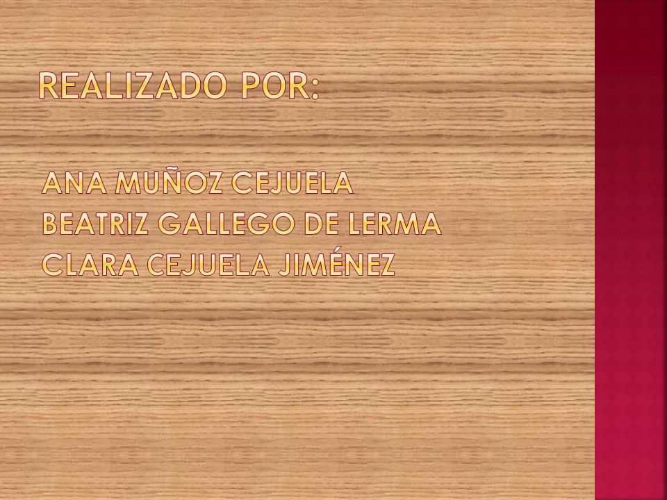 Realizado por: Ana Muñoz Cejuela Beatriz Gallego de Lerma Clara Cejuela Jiménez