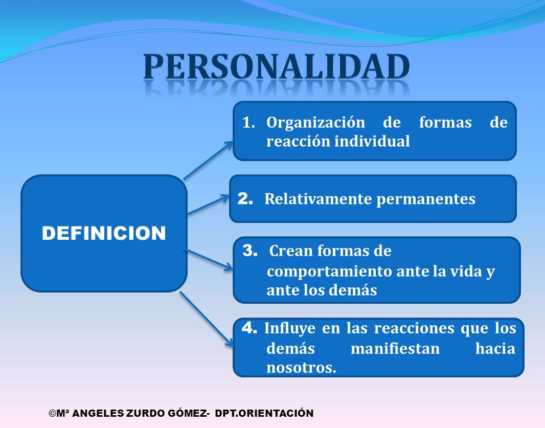 PERSONALIDAD DEFINICION Organización de formas de reacción individual