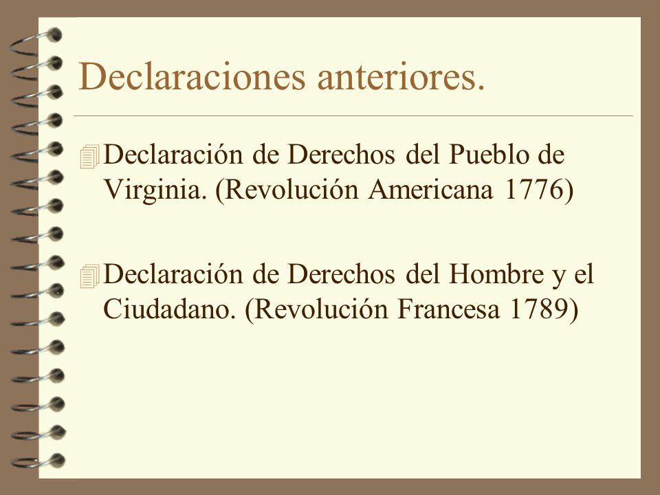 Declaraciones anteriores.