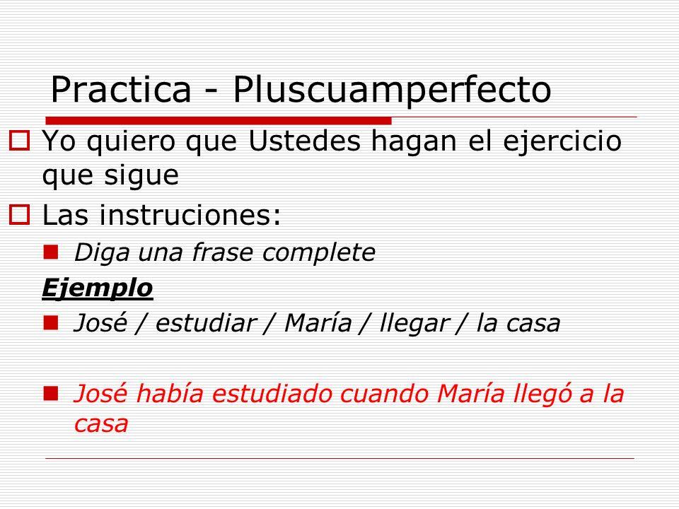Practica - Pluscuamperfecto