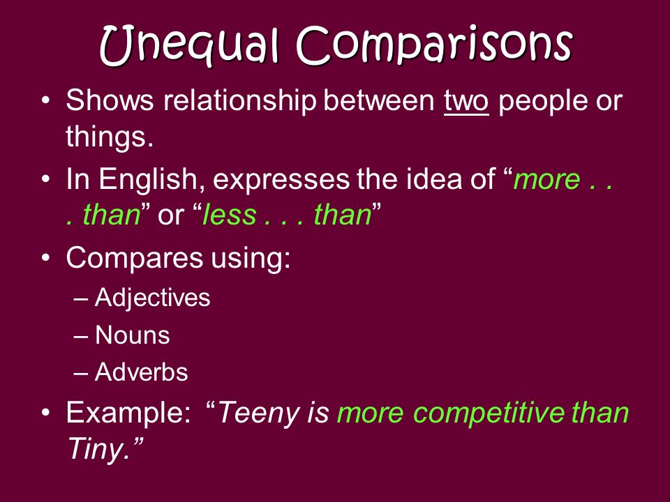 Unequal Comparisons Shows relationship between two people or things.