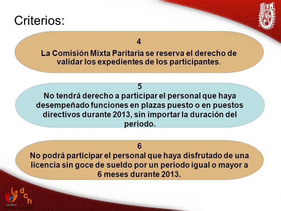 Criterios: 4. La Comisión Mixta Paritaria se reserva el derecho de validar los expedientes de los participantes.