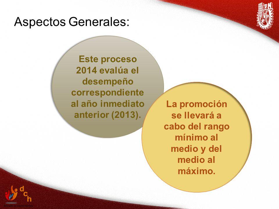 Aspectos Generales: Este proceso 2014 evalúa el desempeño correspondiente al año inmediato anterior (2013).