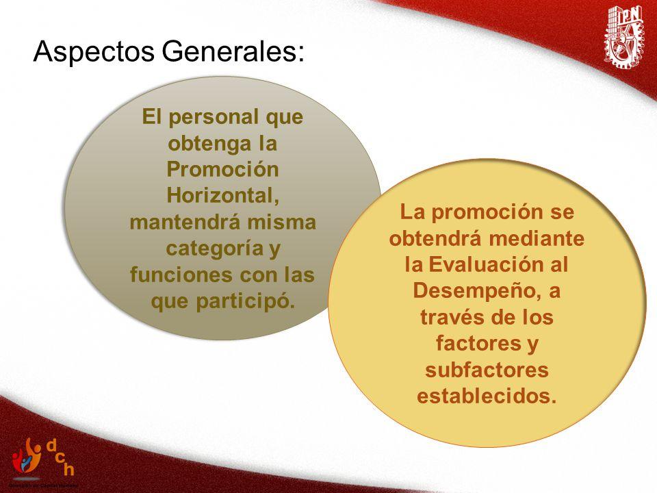 Aspectos Generales: El personal que obtenga la Promoción Horizontal, mantendrá misma categoría y funciones con las que participó.