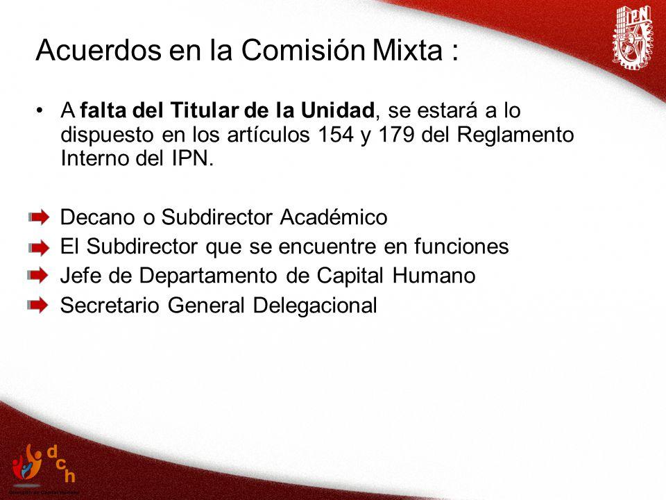 Acuerdos en la Comisión Mixta :