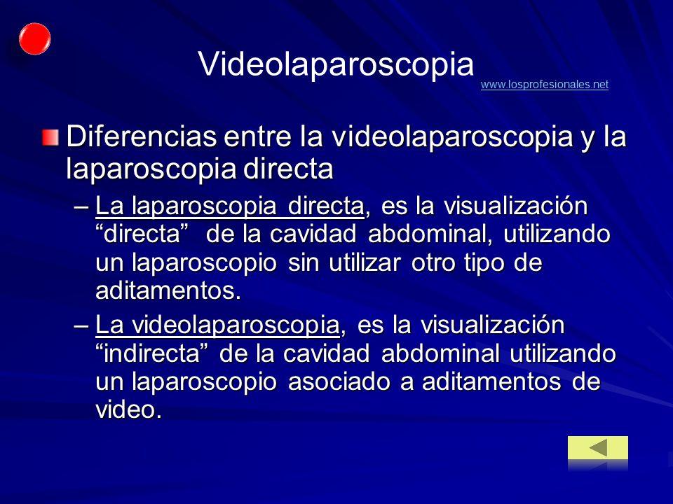 Videolaparoscopia www.losprofesionales.net. Diferencias entre la videolaparoscopia y la laparoscopia directa.