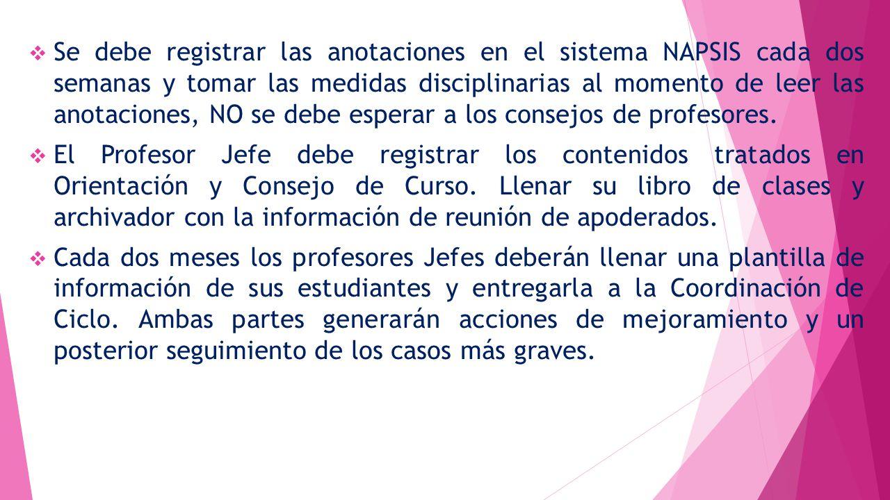 Se debe registrar las anotaciones en el sistema NAPSIS cada dos semanas y tomar las medidas disciplinarias al momento de leer las anotaciones, NO se debe esperar a los consejos de profesores.